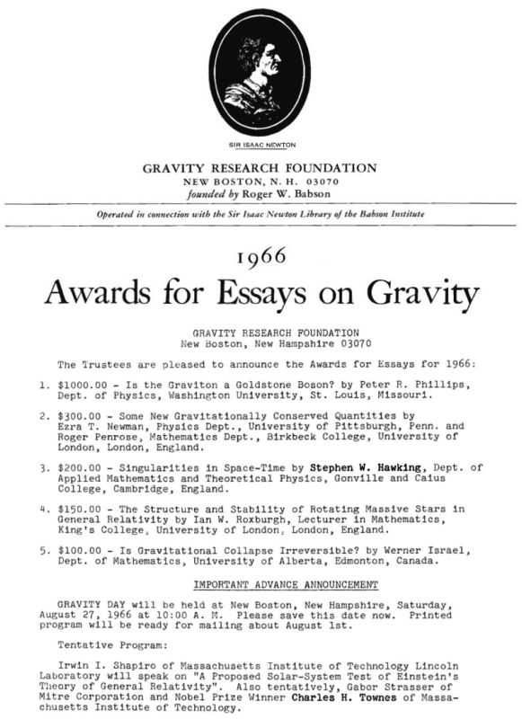 new boston historical society gravity research foundation 1966 awards