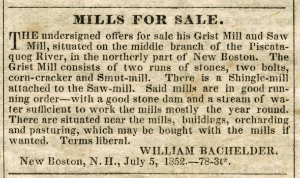 Mills For Sale ad 8/4/1852